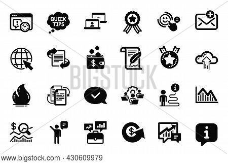 Vector Set Of Education Icons Related To Feather, Fire Energy And Winner Ribbon Icons. Quick Tips, A