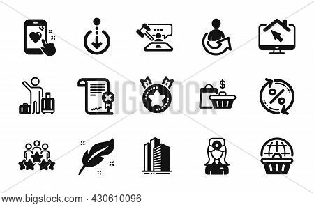 Vector Set Of Ranking Star, Reject Certificate And Feather Icons Simple Set. Judge Hammer, Share And