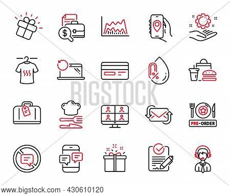 Vector Set Of Business Icons Related To Recovery Laptop, Fast Food And Pre-order Food Icons. Shippin