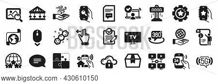 Set Of Technology Icons, Such As Translation Service, Video Conference, Puzzle Icons. House Security