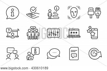 Technology Icons Set. Included Icon As Best App, Employees Group, Approved Signs. Computer Cables, O