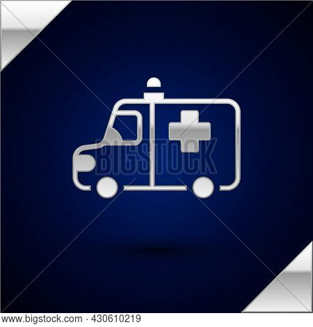Silver Ambulance And Emergency Car Icon Isolated On Dark Blue Background. Ambulance Vehicle Medical