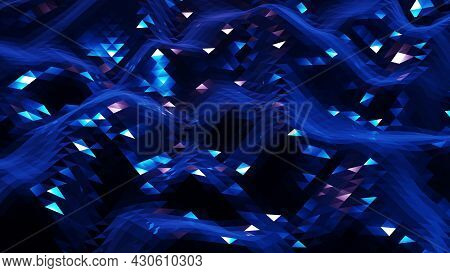 Stylish Dark Abstract Low Poly Background. Abstract Waves On Glossy Metallic Surface. Simple Minimal