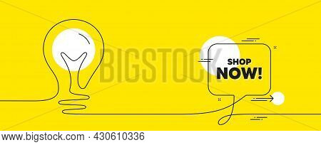 Shop Now Text. Continuous Line Idea Chat Bubble Banner. Special Offer Sign. Retail Advertising Symbo