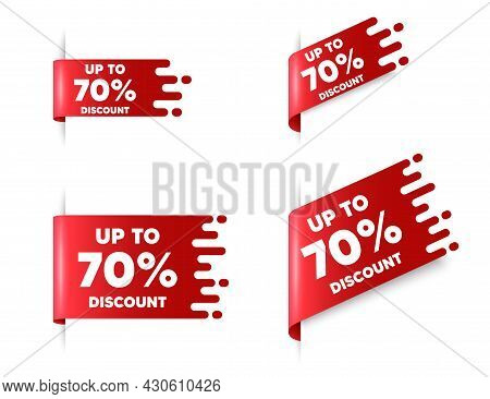 Up To 70 Percent Discount. Red Ribbon Tag Banners Set. Sale Offer Price Sign. Special Offer Symbol.