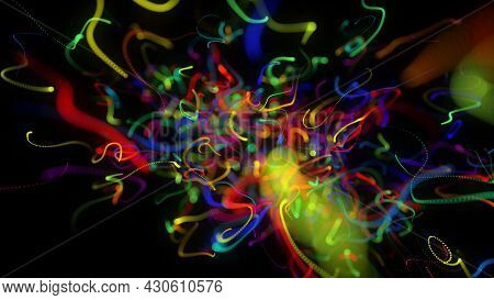 3d Render. Abstract Background With Glow Multicolor Lines Or Light Streaks. Lights Particles Form In
