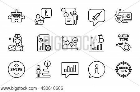Science Icons Set. Included Icon As Bitcoin Graph, Vaccine Message, Tips Signs. Analytical Chat, Tut