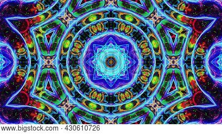Stylish 3d Abstract Bg With Wavy Structure. Liquid Symmetrical Iridescent Pattern Like Kaleidoscope