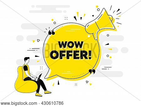 Wow Offer Text. Alert Megaphone Chat Banner With User. Special Sale Price Sign. Advertising Discount