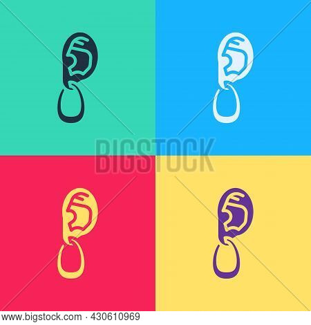 Pop Art Ear With Earring Icon Isolated On Color Background. Piercing. Auricle. Organ Of Hearing. Vec