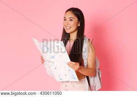 Travelling, Lifestyle And Tourism Concept. Side View Of Attractive Asian Girl Tourist, Traveller Wit