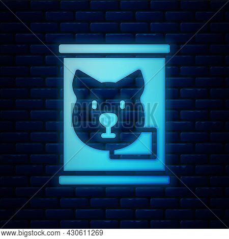 Glowing Neon Canned Food Icon Isolated On Brick Wall Background. Food For Animals. Pet Food Can. Dog