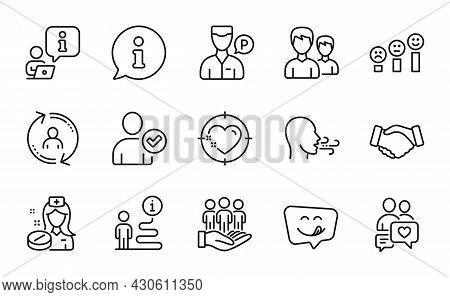 People Icons Set. Included Icon As Handshake, User Info, Best Buyers Signs. Heart Target, Breathing