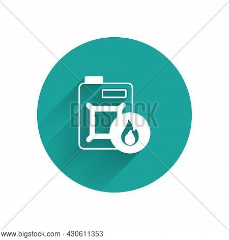 White Canister For Motor Machine Oil Icon Isolated With Long Shadow Background. Oil Gallon. Oil Chan