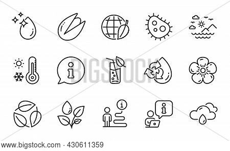 Nature Icons Set. Included Icon As Bacteria, Plants Watering, Weather Thermometer Signs. Pistachio N