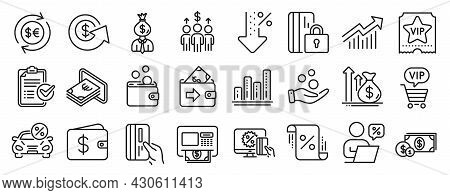 Set Of Finance Icons, Such As Wallet, Vip Ticket, Graph Chart Icons. Online Shopping, Payment Card,