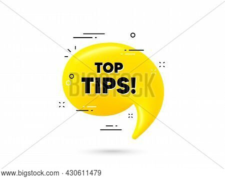 Top Tips Symbol. Yellow 3d Chat Bubble. Education Faq Sign. Best Help Assistance. Top Tips Minimal T