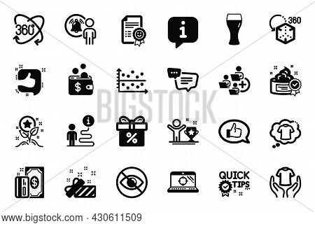 Vector Set Of Business Icons Related To T-shirt, Feedback And Full Rotation Icons. Dot Plot, Loyalty