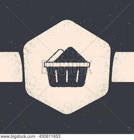 Grunge Plastic Basin With Soap Suds Icon Isolated On Grey Background. Bowl With Water. Washing Cloth