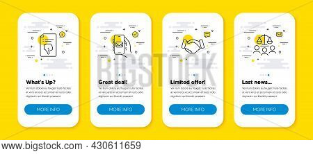 Vector Set Of Thumb Down, Handshake And Mail App Line Icons Set. Ui Phone App Screens With Line Icon