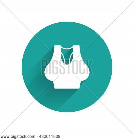 White Undershirt Icon Isolated With Long Shadow Background. Green Circle Button. Vector