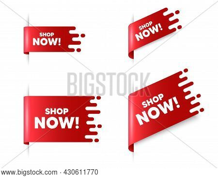 Shop Now Text. Red Ribbon Tag Banners Set. Special Offer Sign. Retail Advertising Symbol. Shop Now S
