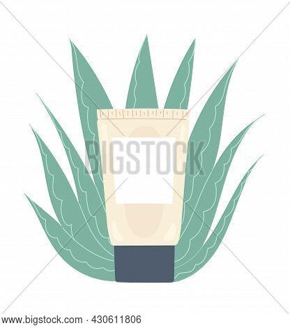 Tube With Nourishing Aloe Vera Cream. Moisturizing Facial Skin Care Product