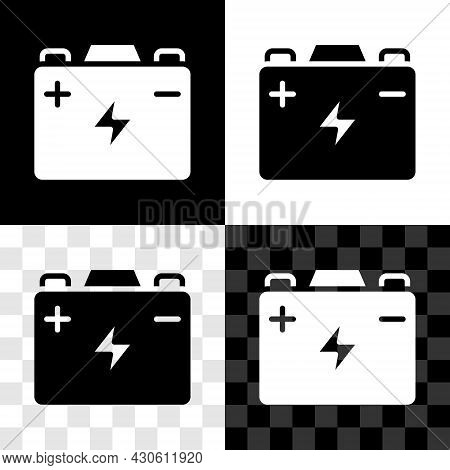 Set Car Battery Icon Isolated On Black And White, Transparent Background. Accumulator Battery Energy