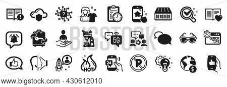 Set Of Business Icons, Such As Engineering Team, Global Business, Facts Icons. Clean Shirt, No Parki
