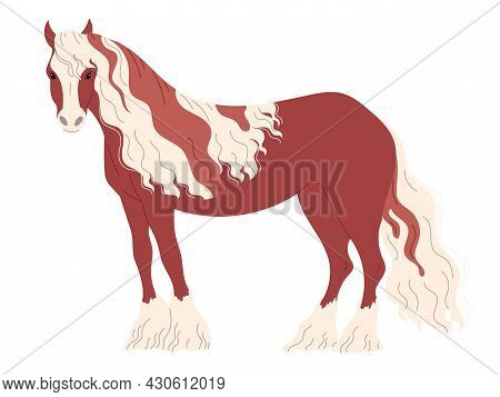 Red-brown Horse With A Two-color Long Mane