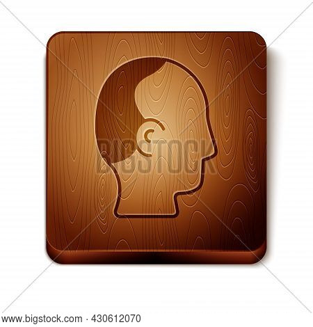 Brown Baldness Icon Isolated On White Background. Alopecia. Wooden Square Button. Vector