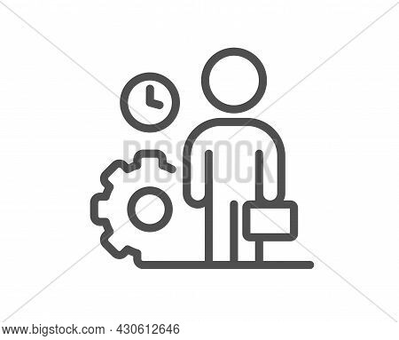 Employee Line Icon. Work Project Sign. Job Service Symbol. Quality Design Element. Linear Style Empl