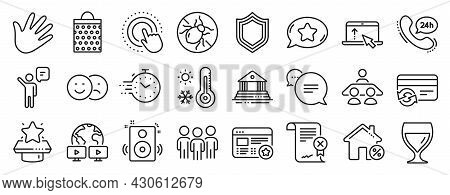 Set Of Business Icons, Such As Shopping Bag, Video Conference, Court Building Icons. Text Message, F