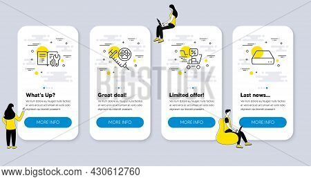 Set Of Business Icons, Such As Engineering Documentation, Discounts Cart, Dog Vaccination Icons. Ui