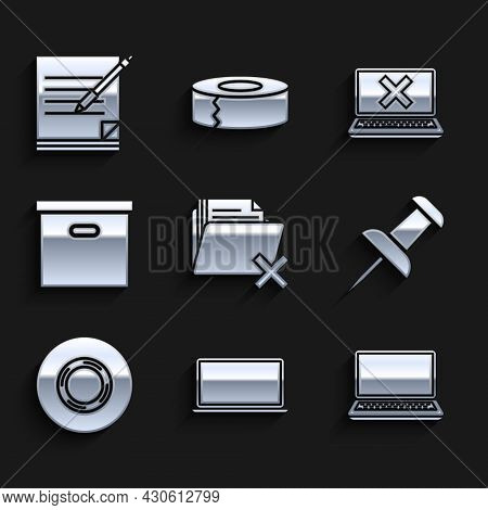 Set Delete Folder, Laptop, Push Pin, Scotch, Carton Cardboard Box, And Cross Mark Screen And Blank N