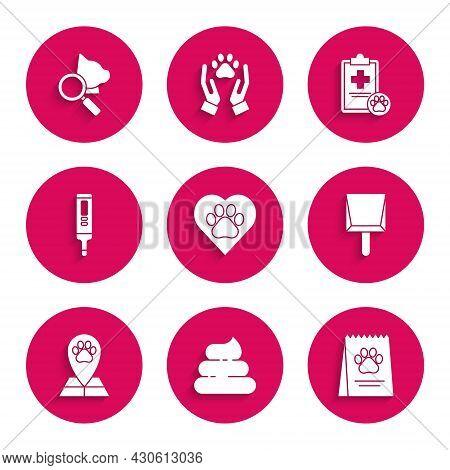 Set Heart With Animals Footprint, Dustpan, Map Pointer Veterinary Medicine Hospital, Medical Digital