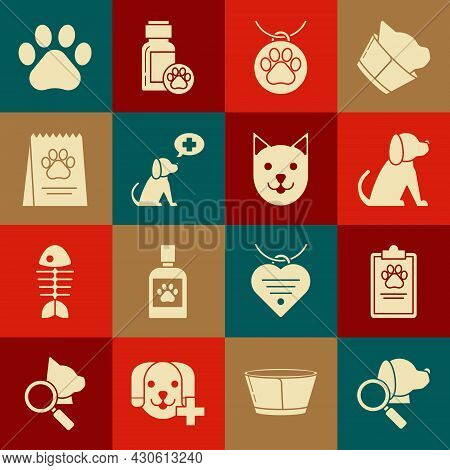 Set Veterinary Clinic Symbol, Clipboard With Medical Clinical Record Pet, Dog, Collar Name Tag, Bag