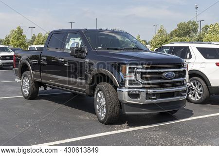 Indianapolis - Circa August 2021: Ford F-350 Display At A Dealership. The Ford F350 Is Available In