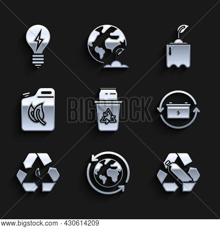 Set Recycle Bin With Recycle Symbol And Can, Planet Earth Recycling, Recycling Plastic Bottle, Batte