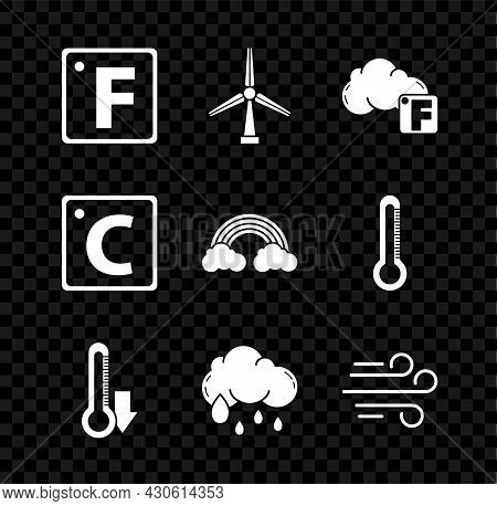 Set Fahrenheit, Wind Turbine, And Cloud, Thermometer, Cloud With Rain, Celsius And Rainbow Clouds Ic