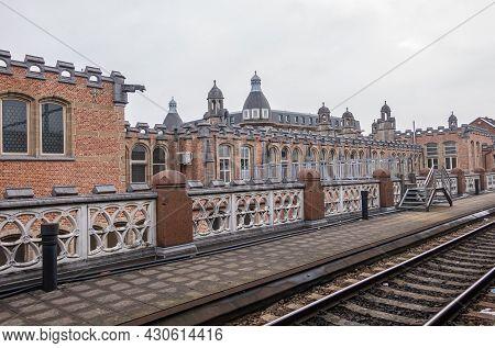 Gent, Flanders, Belgium - August 1, 2021: Back Side Of Sint Pieters Railway Station Shows Historic R