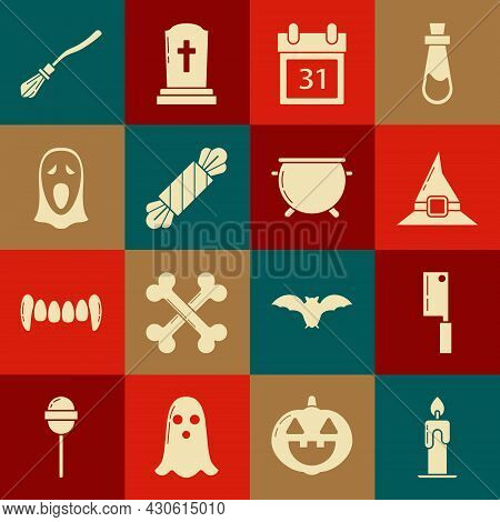 Set Burning Candle, Meat Chopper, Witch Hat, Calendar With Halloween Date 31 October, Candy, Funny S