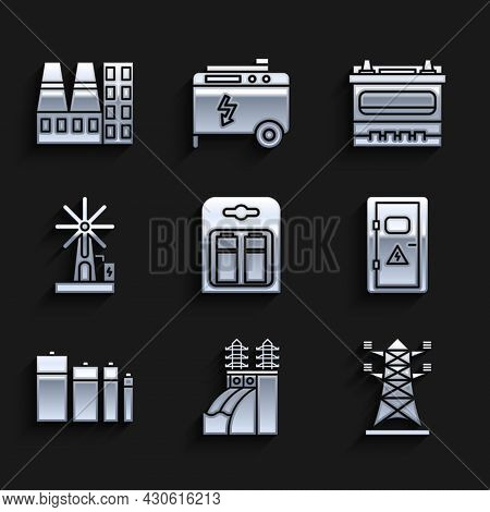 Set Battery In Pack, Nuclear Power Plant, High Voltage Pole Line, Electrical Cabinet, Wind Turbine,