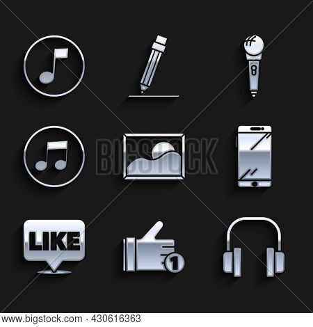 Set Picture Landscape, Hand Like, Headphones, Smartphone, Mobile, Like In Speech Bubble, Music Note,