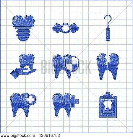 Set Dental Protection, Clinic For Dental Care Tooth, Clipboard With Card, Broken, Tooth, Explorer Sc