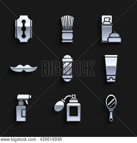 Set Classic Barber Shop Pole, Aftershave Bottle With Atomizer, Hand Mirror, Cream Lotion Cosmetic Tu