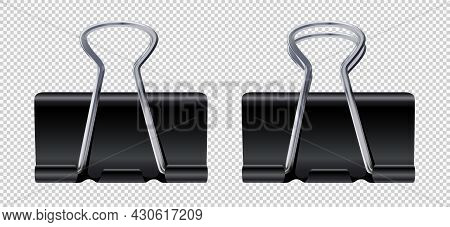 Vector Realistic Black Paper Clips Set Binder Clips Metal Paper Holders Office Stationery