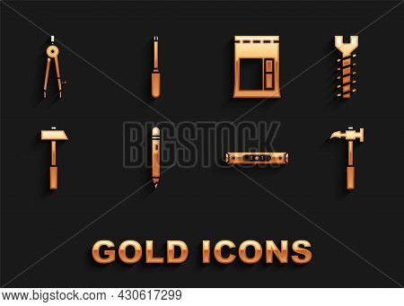 Set Pencil With Eraser, Metallic Screw, Claw Hammer, Construction Bubble Level, Hammer, Cement Bag,