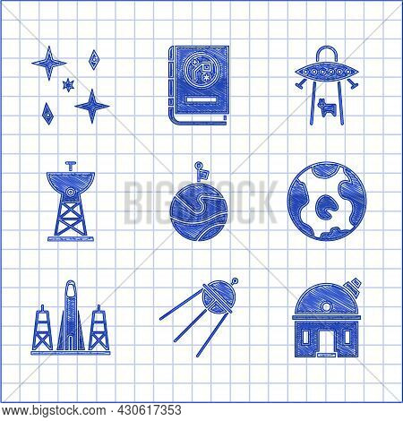 Set Moon With Flag, Satellite, Astronomical Observatory, Earth Globe, Rocket Launch From The Spacepo