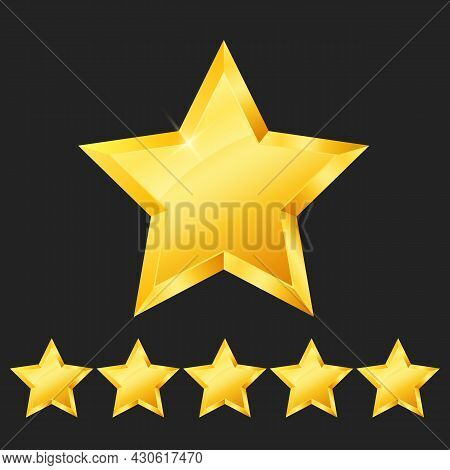 Vector Five 5 Gold Stars, Rank Sign. 3в Glossy Golden Star Sticker Icon Rating Isolated On Black Bac